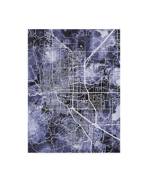 "Trademark Global Michael Tompsett Boulder Colorado City Map Blue Canvas Art - 15"" x 20"""