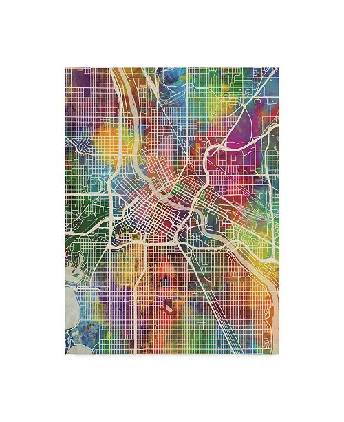 "Trademark Global Michael Tompsett Minneapolis Minnesota City Map Canvas Art - 37"" x 49"""