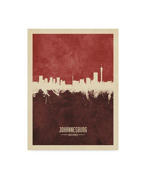 "Trademark Global Michael Tompsett Johannesburg South Africa Skyline Red II Canvas Art - 15"" x 20"""