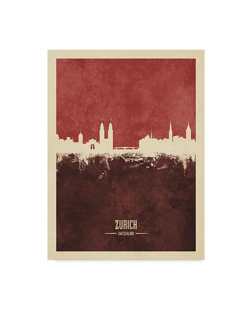 "Trademark Global Michael Tompsett Zurich Switzerland Skyline Red II Canvas Art - 15"" x 20"""