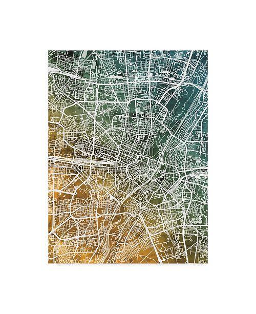"Trademark Global Michael Tompsett Munich Germany City Map Teal Orange Canvas Art - 15"" x 20"""