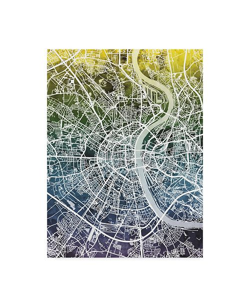 "Trademark Global Michael Tompsett Cologne Germany City Map Blue Yellow Canvas Art - 15"" x 20"""