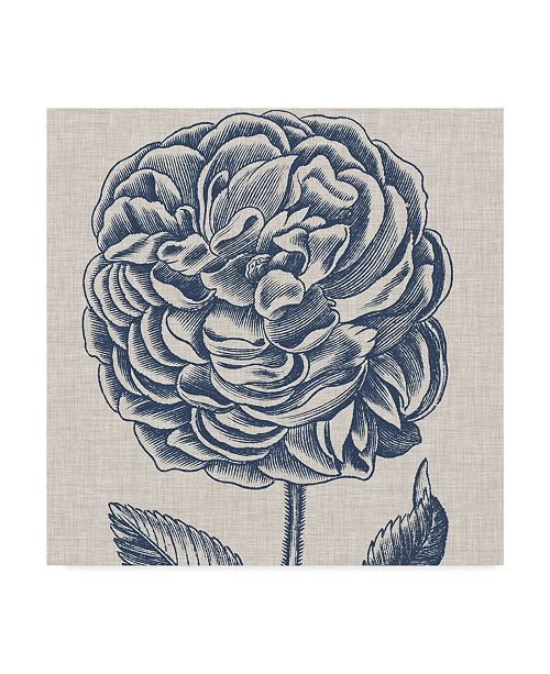 "Trademark Global Vision Studio Indigo Floral on Linen V Canvas Art - 27"" x 33"""