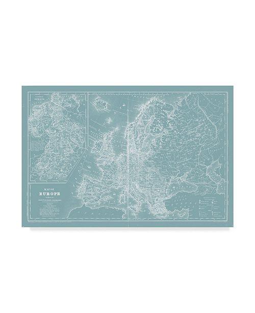 "Trademark Global Mitchell Map of Europe on Aqua Canvas Art - 15"" x 20"""