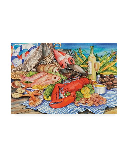 "Trademark Global Kathleen Parr Mckenna Seafood Platter Canvas Art - 20"" x 25"""