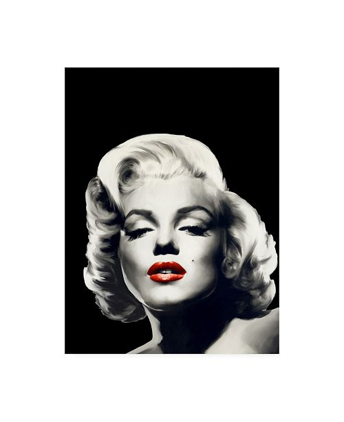 "Trademark Global Chris Consani Red Lips Marilyn in Black Canvas Art - 20"" x 25"""
