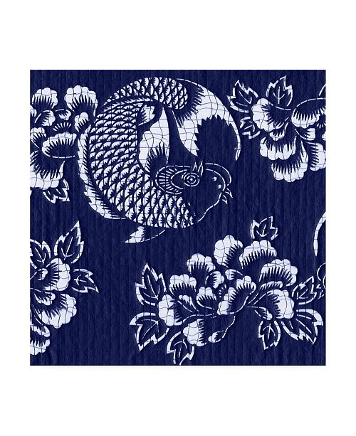"Trademark Global Vision Studio Indigo Carp Katagami II Canvas Art - 20"" x 25"""