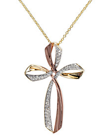 Pave Rose by EFFY Diamond Triple Cross Pendant (1/6 ct. t.w.) in 14k Gold and Rose Gold