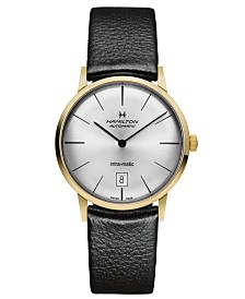 Hamilton Men's Swiss Automatic Intra-Matic Black Leather Strap Watch 38mm H38475751