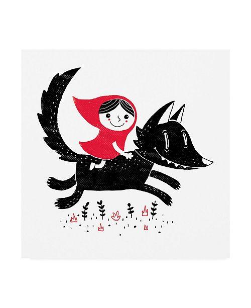 "Trademark Global Michael Buxton Red Riding Canvas Art - 15.5"" x 21"""