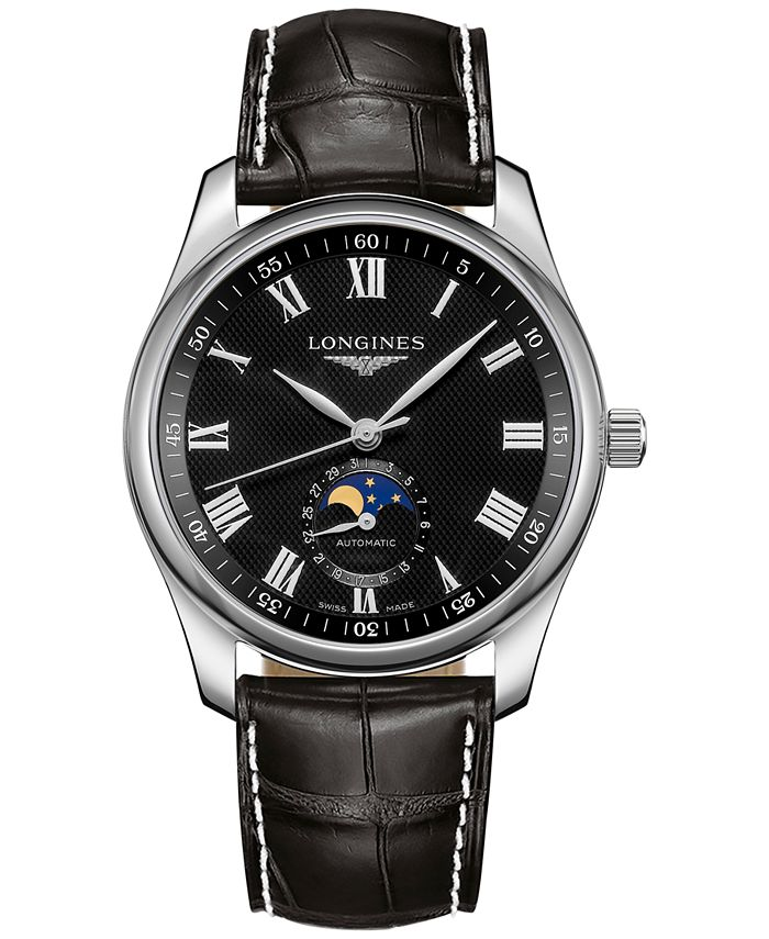 Longines - Men's Swiss Automatic Master Collection Black Alligator Leather Strap Watch 40mm
