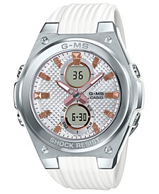 Women's Analog-Digital White Resin Strap Watch 40.3mm