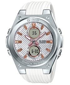G-MS Women's Analog-Digital White Resin Strap Watch 40.3mm