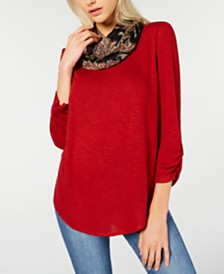 BCX Juniors' Ruched-Sleeve Top with Printed Scarf