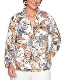Alfred Dunner Classics  Floral-Print Fleece Jacket