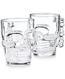 Martha Stewart Collection Glass Skull Mugs, Set of 2, Created for Macy's
