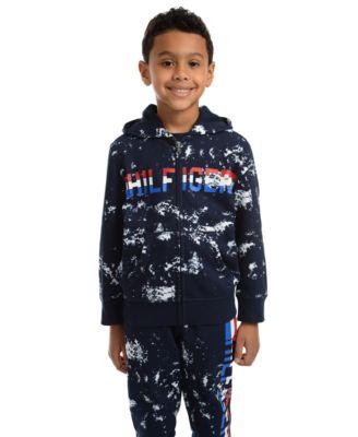 Toddler Boys Edwin Splatter-Print Full-Zip Fleece Logo Hoodie