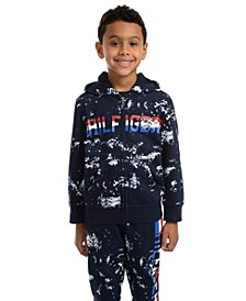 Little Boys Edwin Splatter-Print Full-Zip Fleece Logo Hoodie