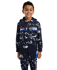 Tommy Hilfiger Little Boys Edwin Splatter-Print Full-Zip Fleece Logo Hoodie
