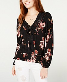 Juniors' Printed Lace-Trimmed Lace-Up Top, Created for Macy's
