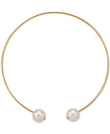 """Cultured Freshwater Pearl (13mm) 14"""" Choker Necklace in 18k Gold-Plated Sterling Silver"""