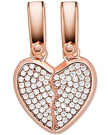 Crystal Heart 2-Pc. Set Charm in 14k Rose Gold-Plate Over Sterling Silver