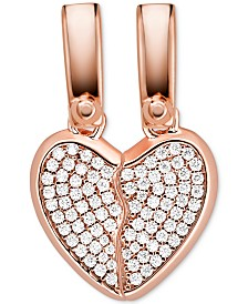 Michael Kors Crystal Heart 2-Pc. Set Charm in 14k Rose Gold-Plate Over Sterling Silver