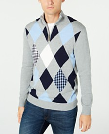 Club Room Men's Pima Argyle Quarter-Zip Sweater, Created for Macy's