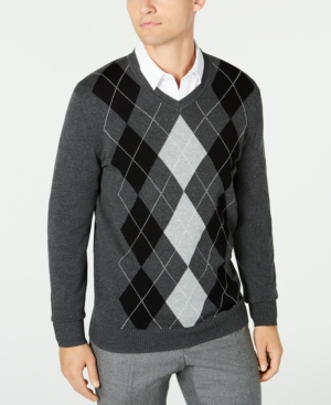 1950s Men's Clothing Club Room Mens Pima Argyle V-Neck Sweater Created for Macys $29.99 AT vintagedancer.com