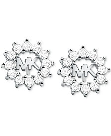 Michael Kors Crystal Logo Stud Earrings