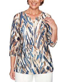 Alfred Dunner Classics Jacquard-Print Studded Tunic