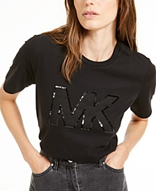 Cotton Sequined Logo T-Shirt, Regular & Petite Sizes, Created for Macy's