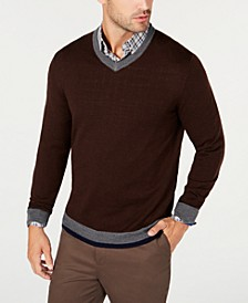 Men's Merino Wool Blend V-Neck Solid Sweater, Created for Macy's