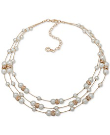 "Gold-Tone Beaded Three-Row Necklace, 16"" + 3"" extender"