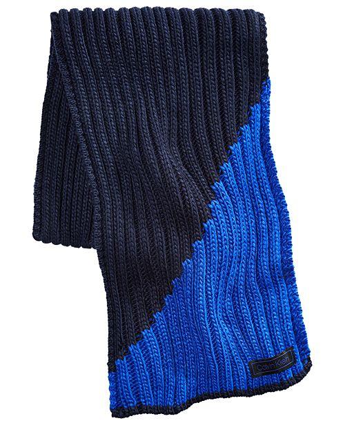 Calvin Klein Men's Colorblocked Ribbed Scarf