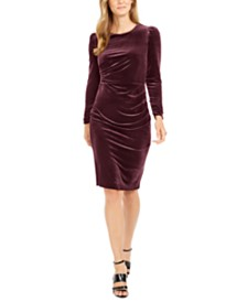 Calvin Klein Petite Ruched Velvet Sheath Dress