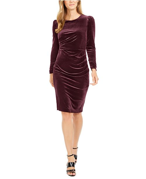 Calvin Klein Ruched Velvet Sheath Dress
