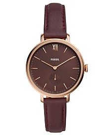 Fossil Women's Kayla Fig Leather Strap Watch 36mm