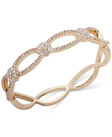 Gold-Tone Crystal Flower Bangle Bracelet, Created for Macy's