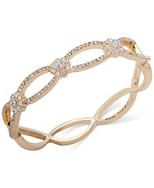 Anne Klein Gold-Tone Crystal Flower Bangle Bracelet, Created for Macy's