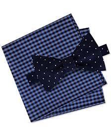 Men's Classic Dot Pre-Tied Silk Bow Tie & Gingham Pocket Square Set