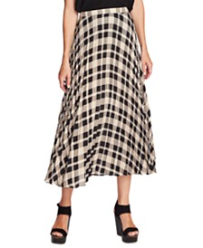 Vince Camuto Pleated Plaid Midi Skirt