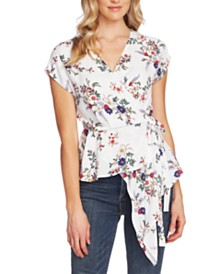 Vince Camuto Country Bouquet Wrap Asymmetrical Peplum Blouse