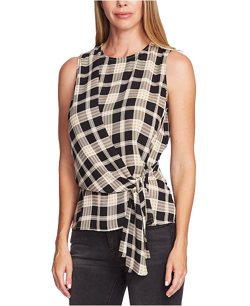 Vince Camuto Highland Plaid Assymetrical Sleeeless Blouse