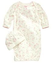 cc1b90297b79a Little Me Baby Girls Vintage Rose-Print Gown & Beanie Set