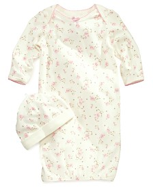 Little Me Baby Girls Vintage Rose-Print Gown & Beanie Set