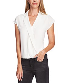 Notch-Collar Wrap Blouse