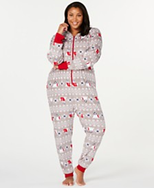 Matching Family Pajamas Plus Size Polar Bear Hooded Pajamas, Created For Macy's