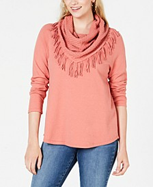 Petite Fringed Cowl-Neck Sweater, Created for Macy's
