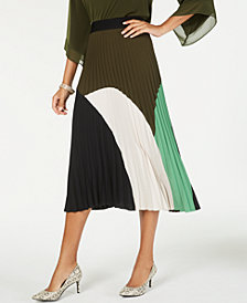 Alfani Petite Colorblock Pleated Midi Skirt, Created for Macy's